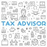 Vector line web concept for tax advisor Stock Photography