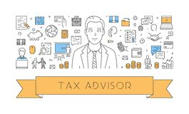 Vector line web concept for tax advisor Stock Image