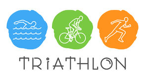 Vector line web symbol for triathlon Royalty Free Stock Images