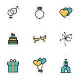Vector line wedding icon set Stock Photo