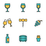 Vector line wine icon set Royalty Free Stock Photography