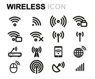 Vector line wireless icons set Stock Photography