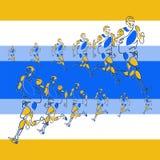 Vector lineair patroon van gestileerde cijfers van atleten stock illustratie