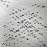 Vector Lineaire Abstracte Zwart-wit Achtergrond met Punten Stock Illustratie