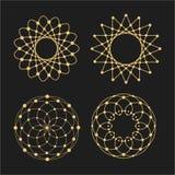 Vector lineaire cirkels, sterren, spiraalvormige abstracte emblemen en ronde vormen Ontwerpelementen van punten en lijnen stock illustratie