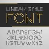 Vector lineaire doopvont - eenvoudig en minimalistic alfabet in lijnstijl Stock Afbeelding
