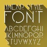 Vector lineaire doopvont - eenvoudig en minimalistic alfabet in lijnstijl Kosmische stijl Stock Foto