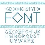 Vector lineaire doopvont Griekse stijl met ornament Stock Foto