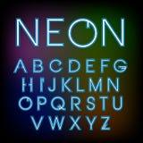 Vector lineaire neondoopvont Stock Afbeeldingen