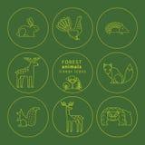 Vector lineaire pictogrammen van bosdieren Royalty-vrije Stock Afbeeldingen