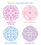 Vector linear abstract emblems Royalty Free Stock Photos