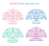 Vector linear abstract emblems Royalty Free Stock Photo