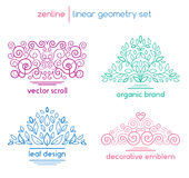 Vector linear abstract emblems Royalty Free Stock Image