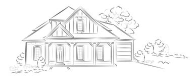 Vector Linear architectural sketch detached house. Linear architectural project of american detached house - vector illustration Stock Image