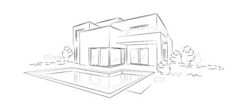 Vector Linear architectural sketch modern detached house. Linear architectural project of modern detached house with swimming pool - vector illustration Stock Photo