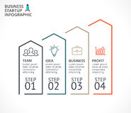 Vector linear arrows infographic, diagram chart, graph presentation. Business concept with 4 options, parts, steps. Circle arrows diagram for graph infographic Stock Photos