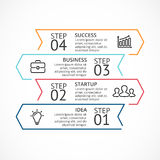 Vector linear arrows infographic, diagram chart, graph presentation. Business concept with 4 options, parts, steps. Circle arrows diagram for graph infographic Royalty Free Stock Image