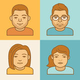 Vector linear avatar icons Royalty Free Stock Images