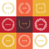 Vector linear badges and frames Stock Photos