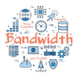 Blue concept of Bandwidth. Vector linear blue round concept of Bandwidth. Internet information and outline icons of online technology royalty free illustration