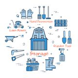 06 Blue GARDENING - Storage. Vector linear blue round concept of Garden Storage. Thin line icons of Barn, tools and accessories of the worker. Modern web banner Stock Photo