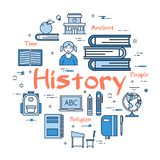 Blue round History Subject concept. Vector linear blue round concept of History Subject. School lesson for children and education line icons of encyclopedia and Royalty Free Stock Image