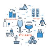 Blue round banner - wine glasses royalty free illustration