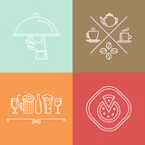 Vector linear catering icons. Vector linear catering and cafe icons and logo design elements stock illustration