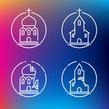 Vector linear churches icons Stock Images