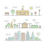 Vector linear city illustration in trendy style, mono line buildings stock illustration