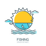 Vector linear colorful illustration of sun, fish in the sea, fishing rod and hook. Royalty Free Stock Photos