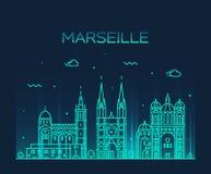 Vector linear del estilo de la silueta del horizonte de Marsella Imagen de archivo libre de regalías