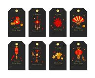 Vector linear design for Chinese New Year greetings with traditional elements and itams on white background. Christmas. Tags set with typography and colorful stock illustration
