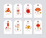 Vector linear design for Chinese New Year greetings with traditional elements and itams on white background. Christmas. Tags set with typography and colorful royalty free illustration