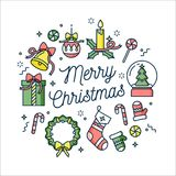Vector linear design Christmas greetings card on white background. Typography ang icon for Xmas background, banners or. Posters and other printables. Winter Royalty Free Stock Photos