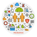Vector linear design concept life insurance. Line web banner for health insurance. Vector linear design concept life insurance. Open path Stock Photo