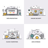 Vector linear design. Concepts and icons for data protection, online security, cloud computing and data storage. Royalty Free Stock Images