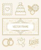 Vector linear design elements for wedding invitations Stock Photo
