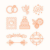 Vector linear design elements for wedding invitations vector illustration