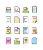 Vector linear document icons set  on white, paper symbols Stock Photography