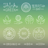 Vector linear ecology and organic badges and logos stock illustration