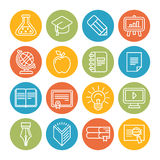 Vector linear educational icons and signs stock photos