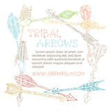 Vector linear ethnic arrows square frame. Royalty Free Stock Photography