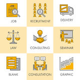 Vector linear and flat business icons for web. Job, recruitment, Royalty Free Stock Image