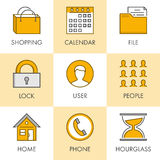 Vector linear and flat business icons for web. Shopping, calenda Stock Photos
