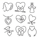 Vector linear flat color love and wedding icons Stock Image