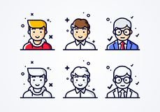 Free Vector Linear Flat People Faces Icon Set. Social Media Avatar, User Pic And Profil. User Experience Concept Different Male Smiley Royalty Free Stock Images - 138746919