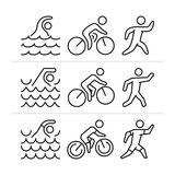 Vector linear and flat triathlon logo and icons. Stock Photo