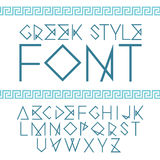 Vector linear font. Greek style with ornament.  Vector Illustration