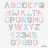 Vector linear font. 80`s retro alphabet font. Simple and minimalist alphabet in mono line style Stock Image